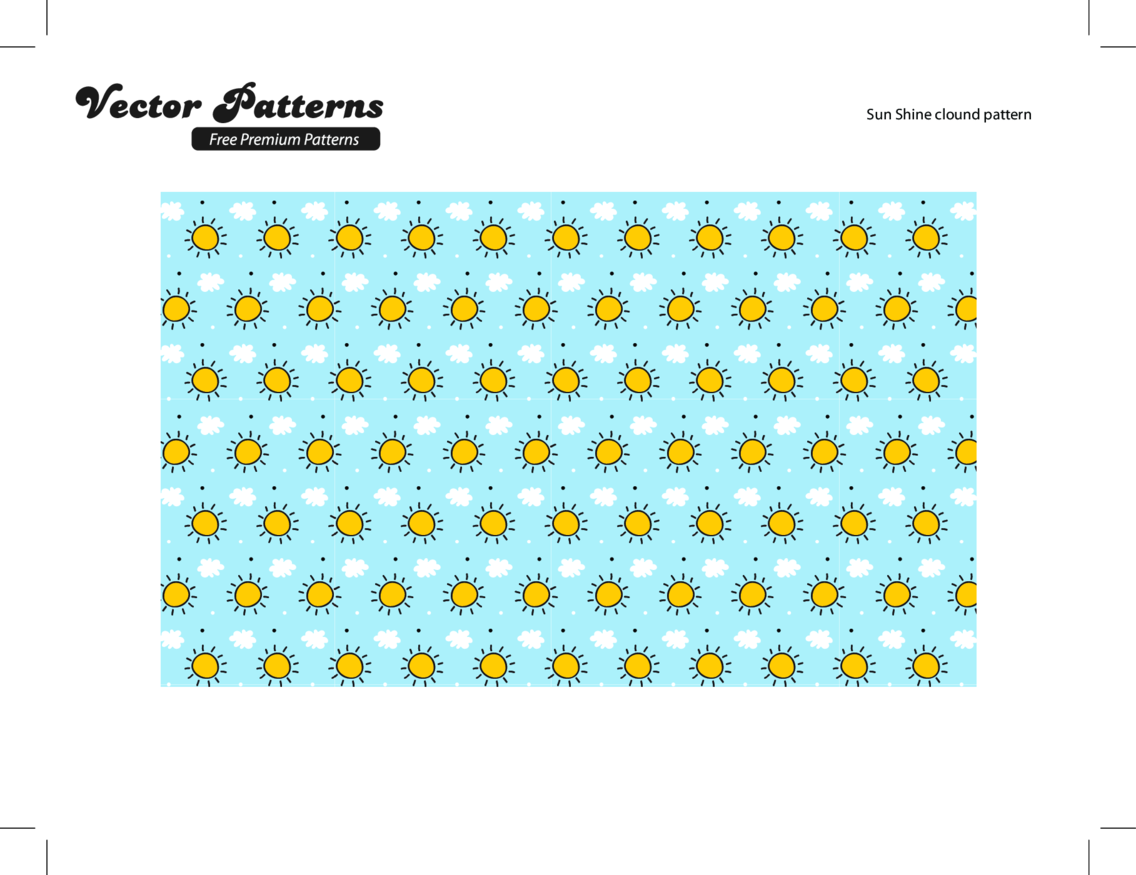A Free Sunshine Cloud Photoshop And Illustrator Pattern