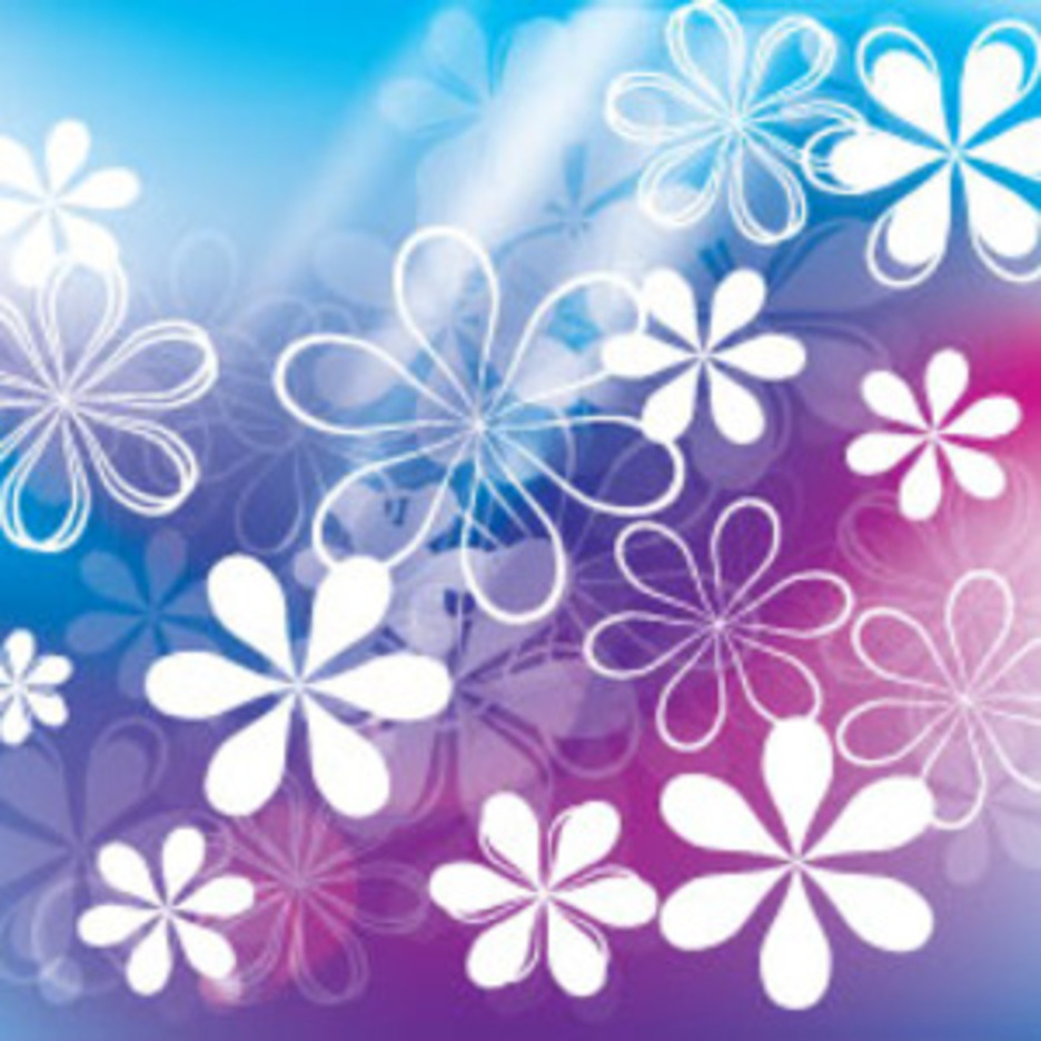 White And Transparent Flower In Blue Background