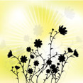 Black Flowers In Yellow Design