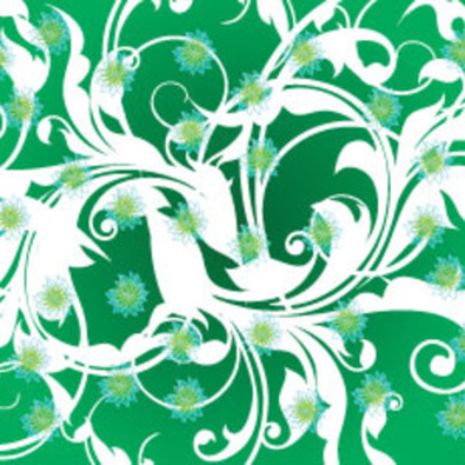 White Swirls And Green Flowers Freee Vector