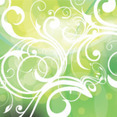 Swirly Abstract Green Background With Retro Circles