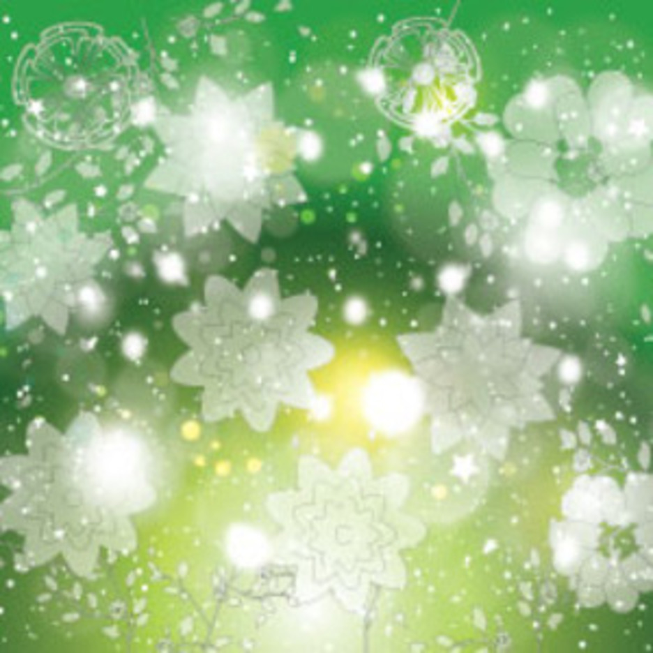 Ransprent Flowers In Green Shinning Background