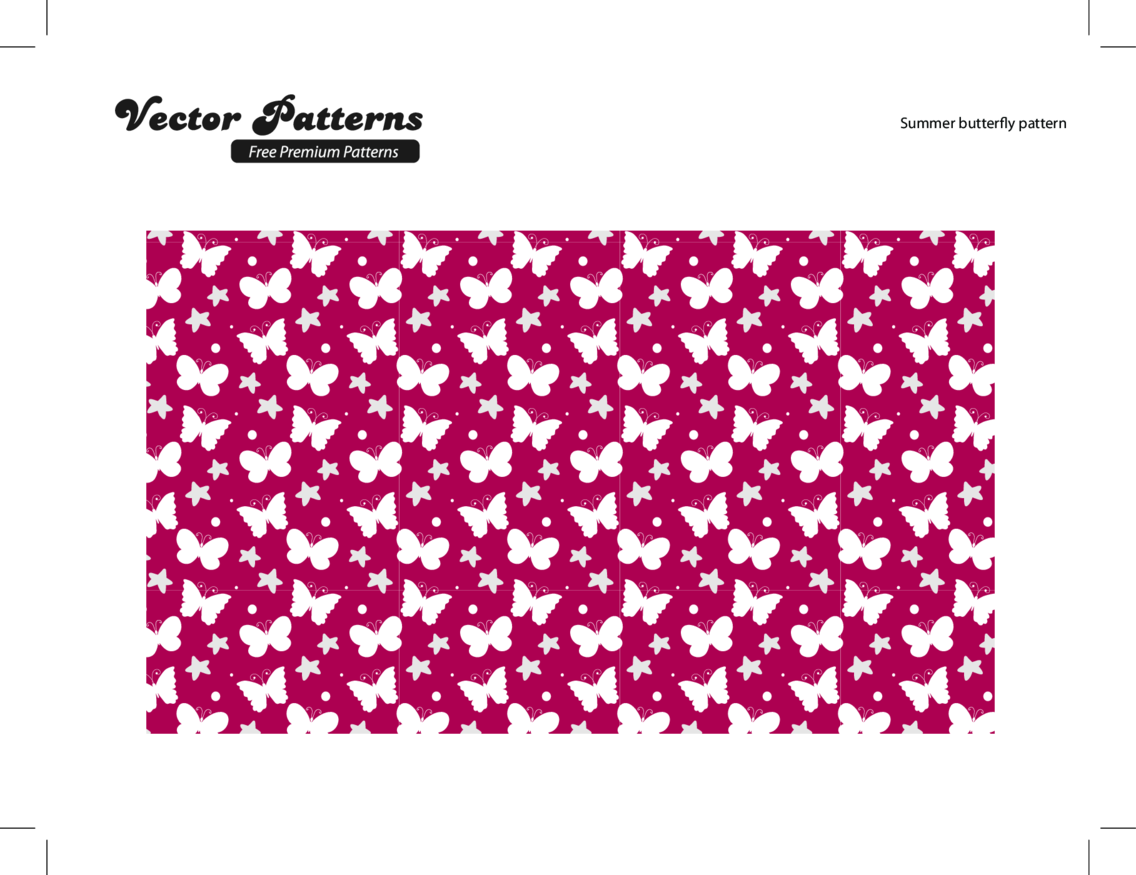 Summer Butterfly Free Vector Pattern