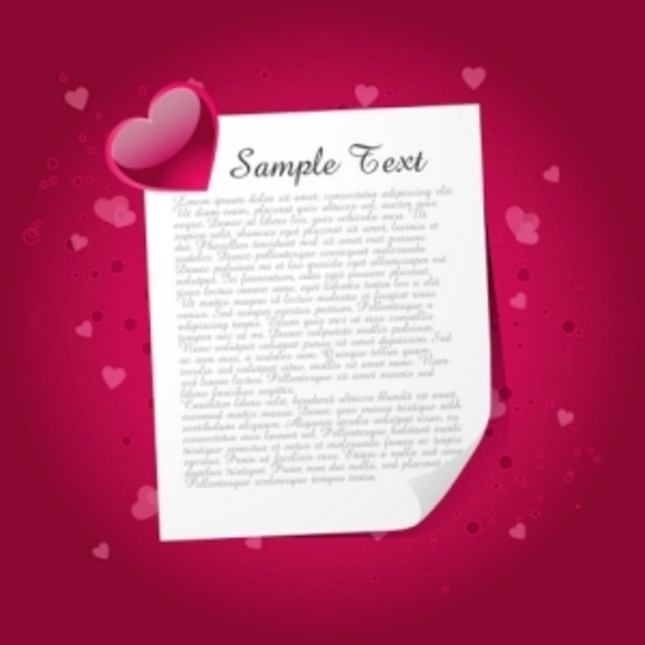 Beautiful Valentine Card Against Red Background