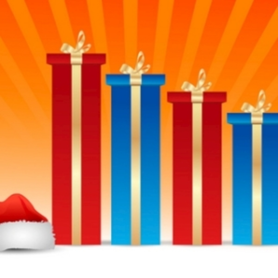 Merry Christmas Card On Gradient Striped Background