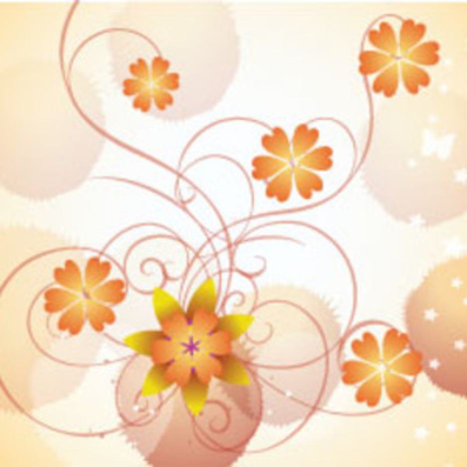 Orange Flowers In Clear Vector Background