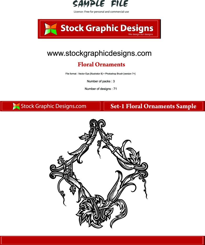 Hand Drawn Floral Ornaments Free Vector Graphics