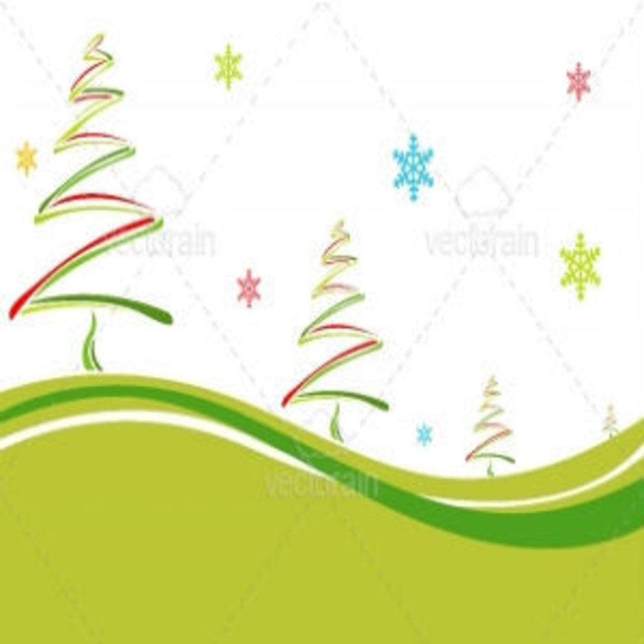 Christmas Card With Colorful Pine Trees And Snowflakes