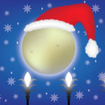 Christmas Moon With Santa Claus Hat