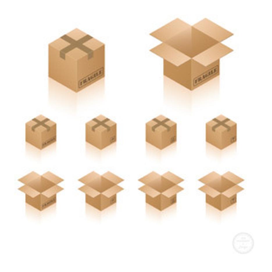 Isometric Cardboard Box Icons