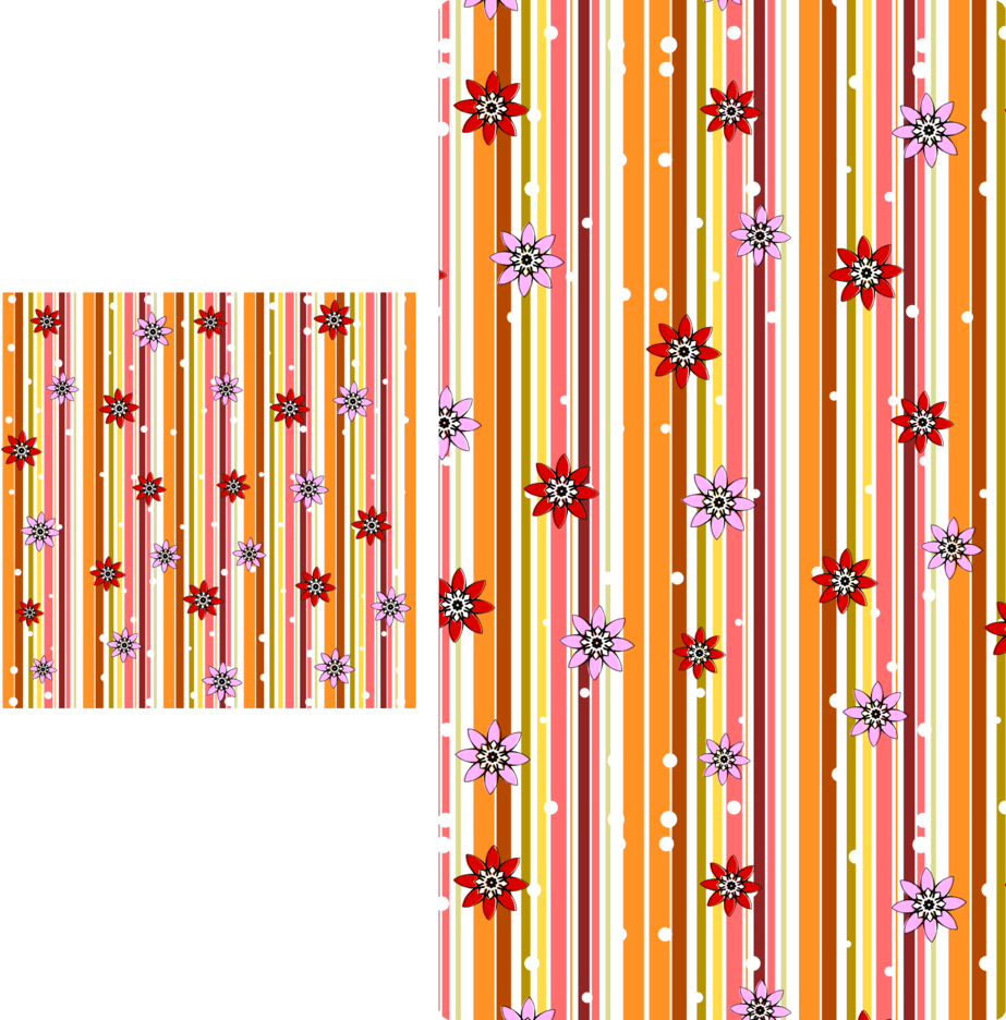 Retro Seamless Stripe Pattern With Flowers