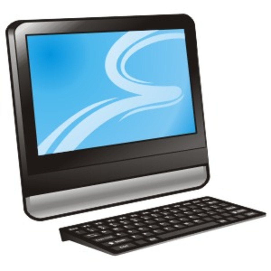 Computer With Blue Display