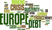 European Debt Crisis Word Cloud Vector Background