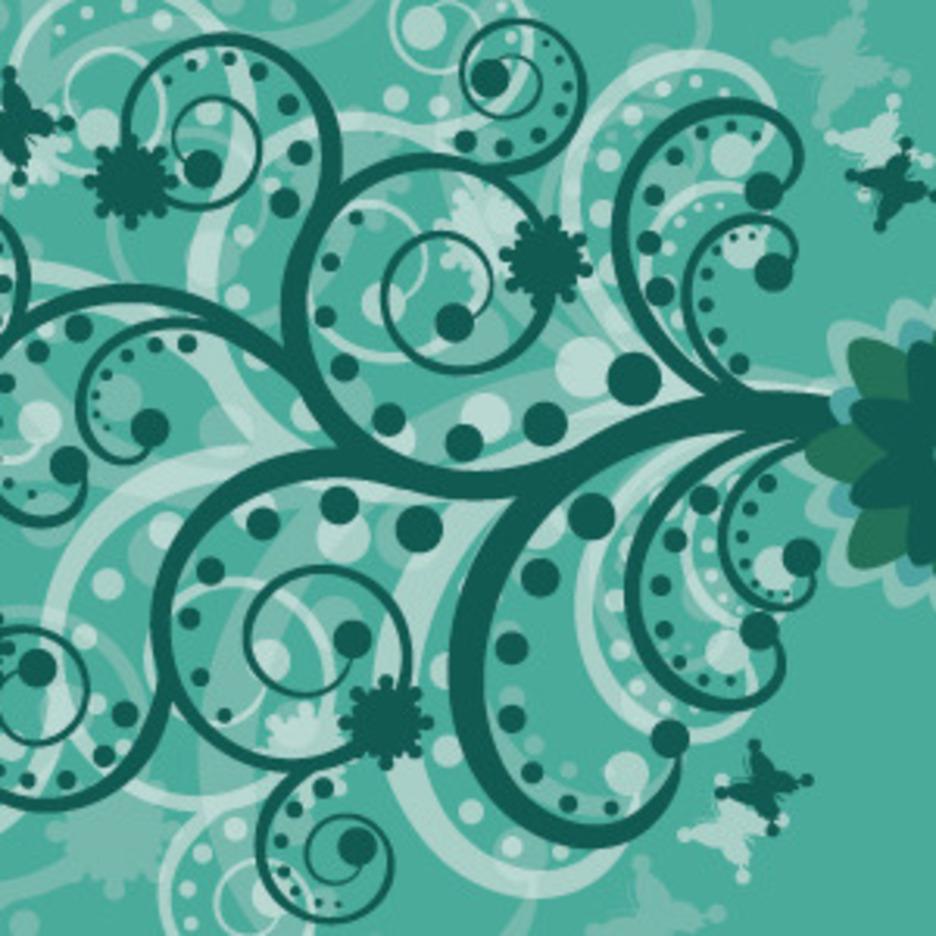 Green Abstract Flowers Swirls