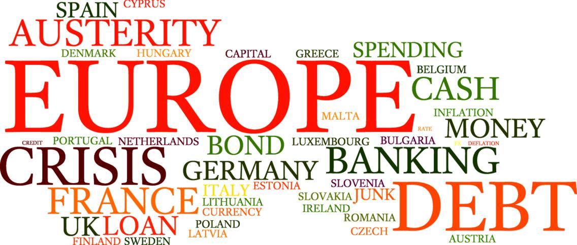 European Debt Crisis Word Cloud Vector Bkg