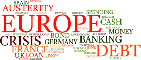 European Debt Crisis Word Cloud Vector Bkg