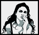 Girl With Black Hair Smoking Vector