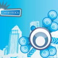 Blue City Free Vector Background