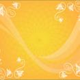 Orange Background With Ornament And Swirls