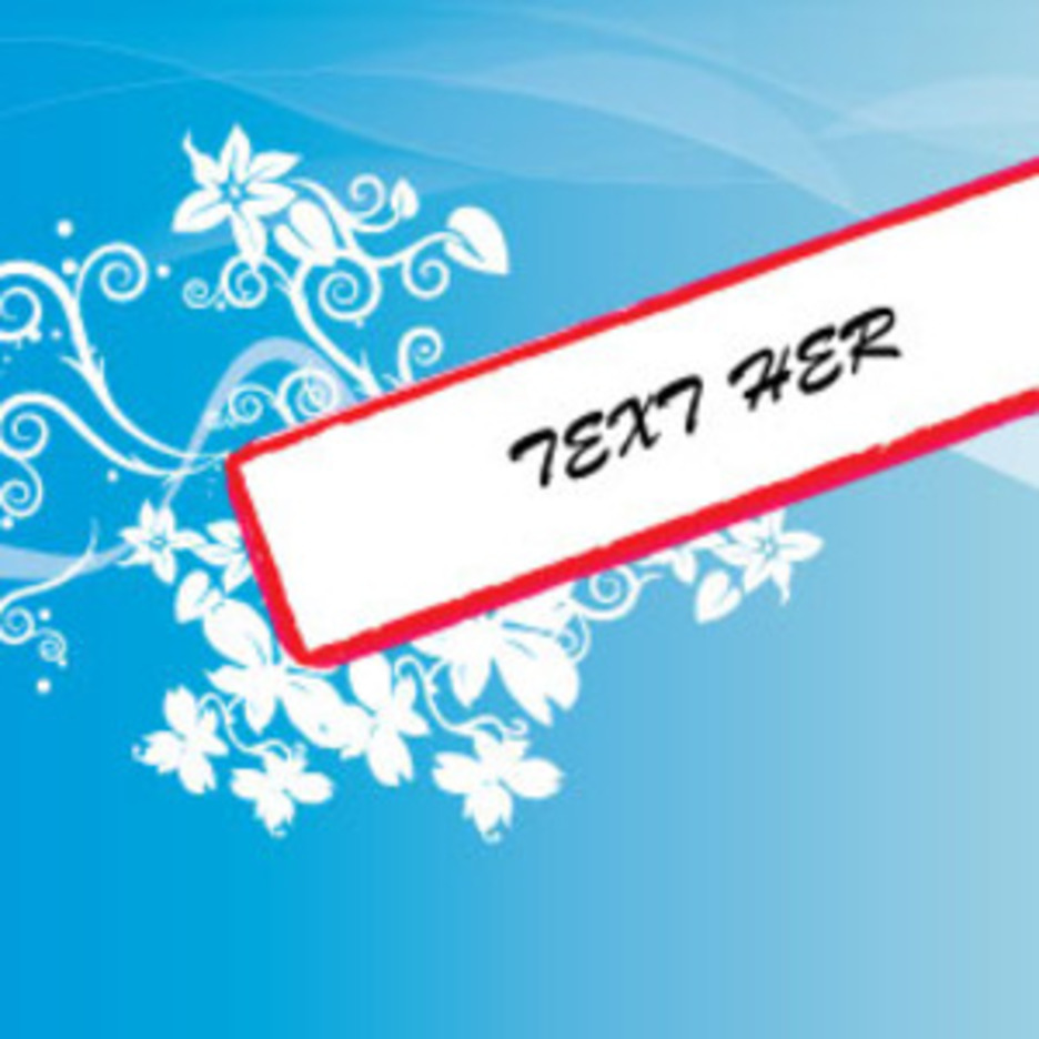 Floral Banner In Blue Vector Art