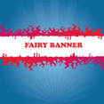 Red Fairy Banner In Blue Background