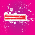 Red Grunge Banner In Pink Background