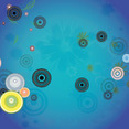 Retro Black Circles In Blue Background
