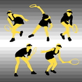 Silhouettes Of Tennis Player