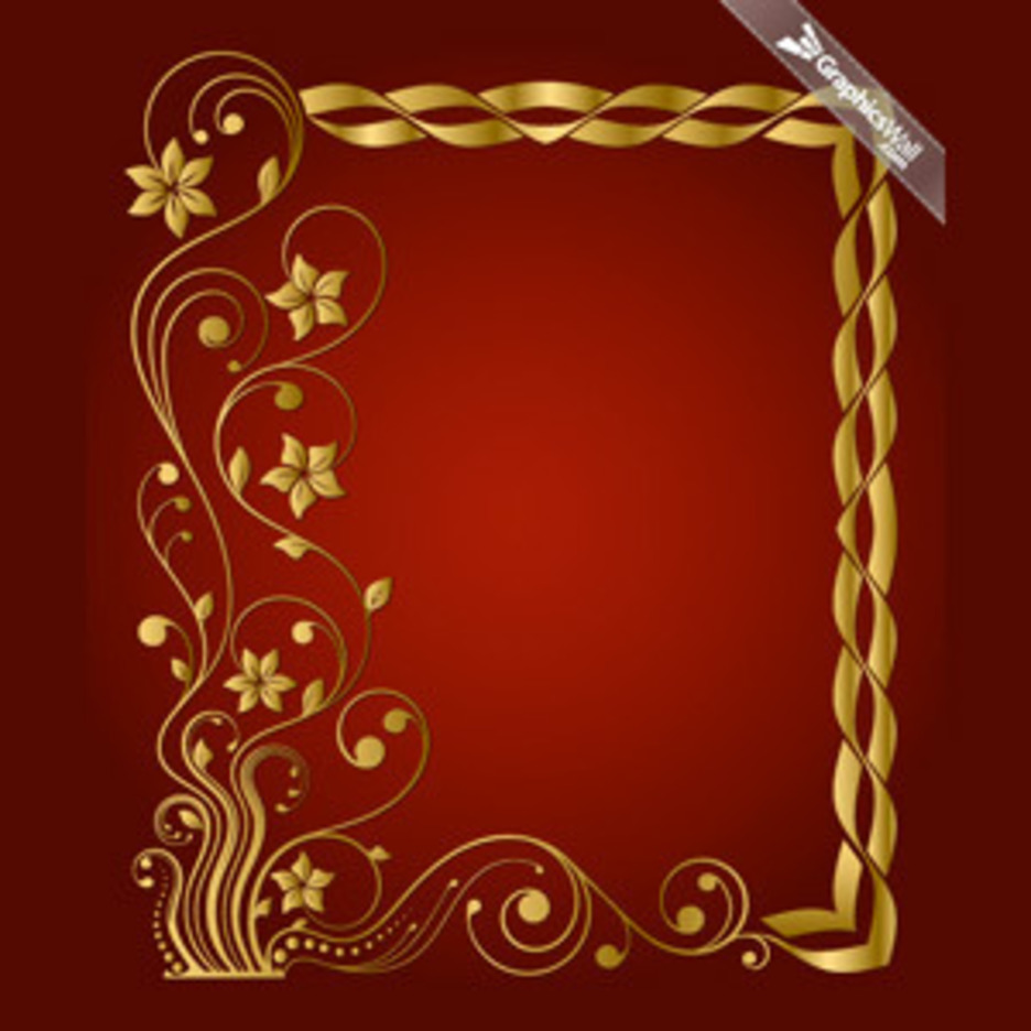 Golden Vector Frame With A Floral Motif