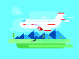 Flat Airplane Vector Landscape