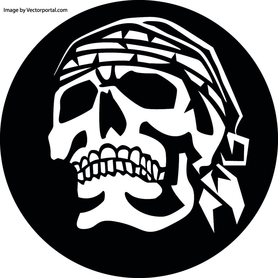 Skull With Headscarf Vector Clip Art