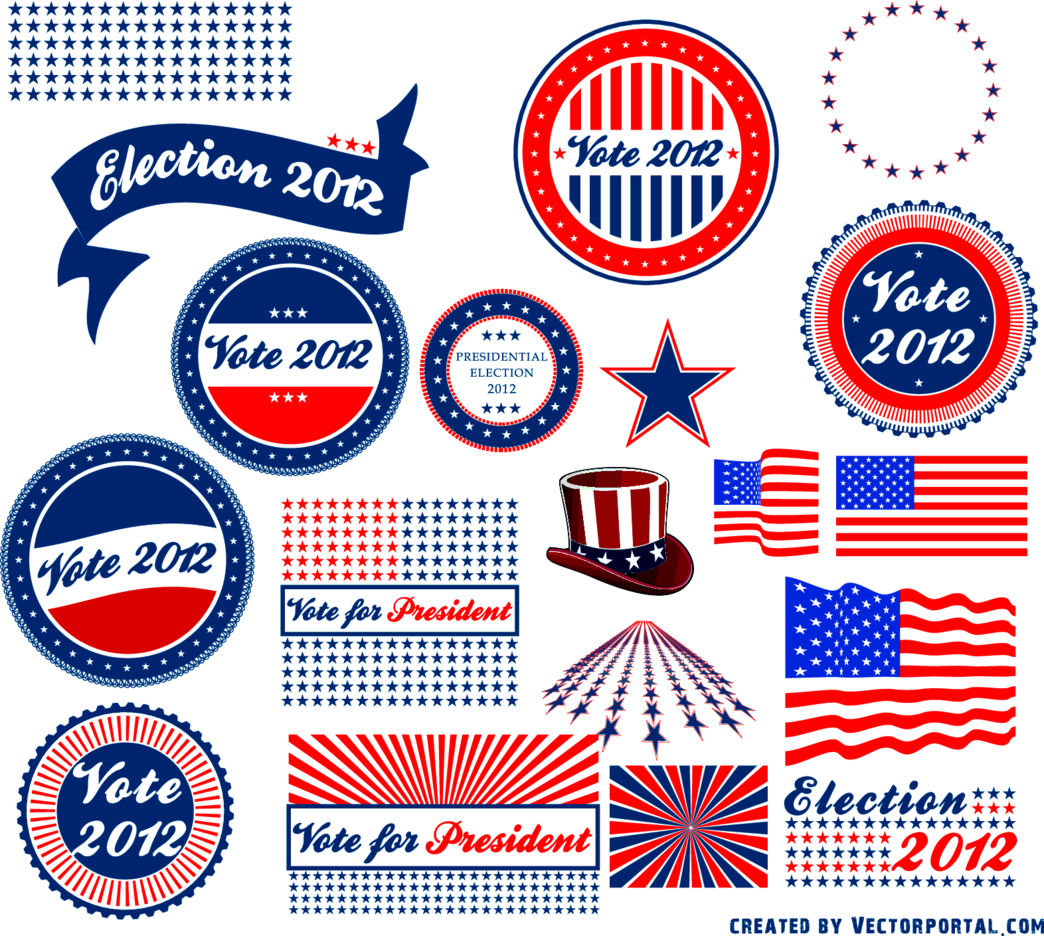 Presidential Election 2012 Vector Stickers