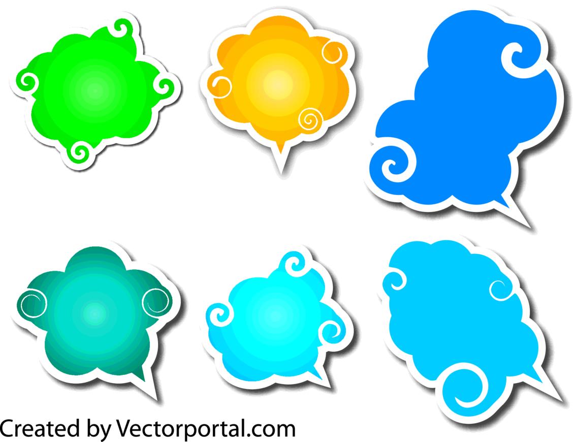 Speech Clouds Vector Set