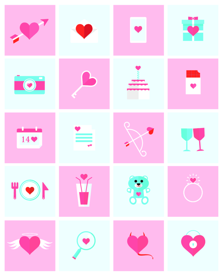 Free Vector Flat Valentine Icons