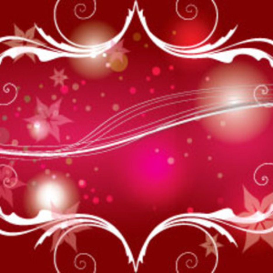 Red Shinning Swirls And Flowers Vector