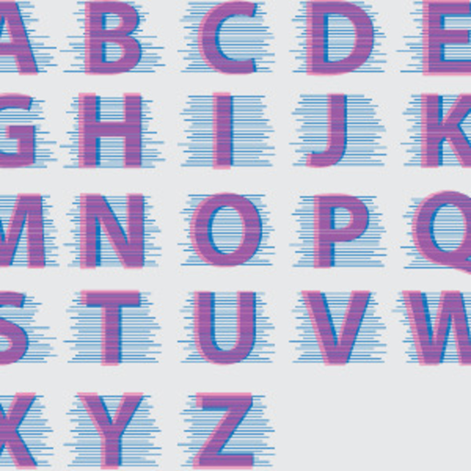 Purple Alphabet With Blue Lines