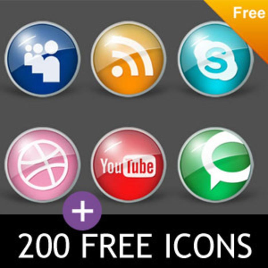Free Icons 200 + Glossy Pack