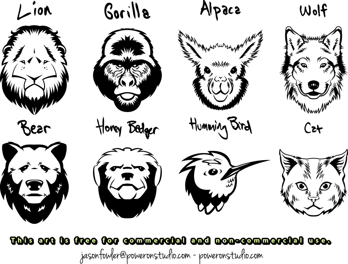 8 Animal Head Vectors