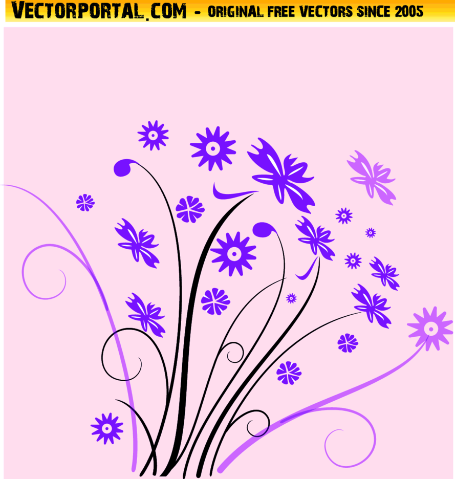 Floral Vector Pink Background