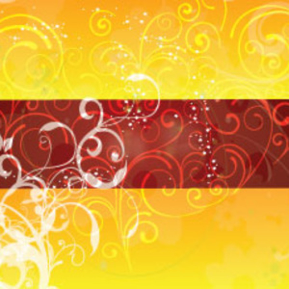 Swirls Designs In Brown Yellow Background