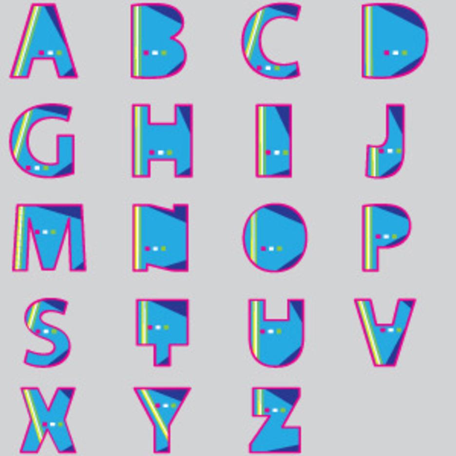 Blue Fat Font Vector Design