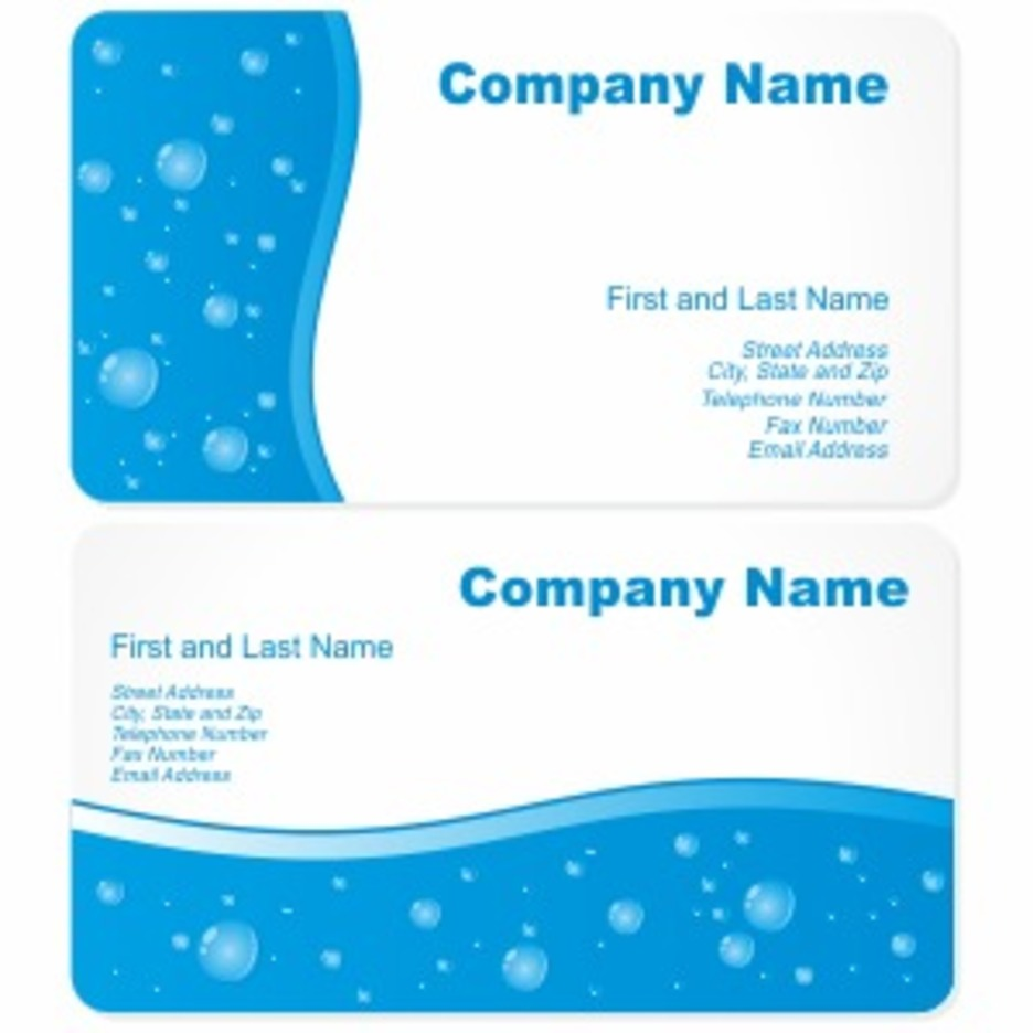 Business Cards With Water Drops
