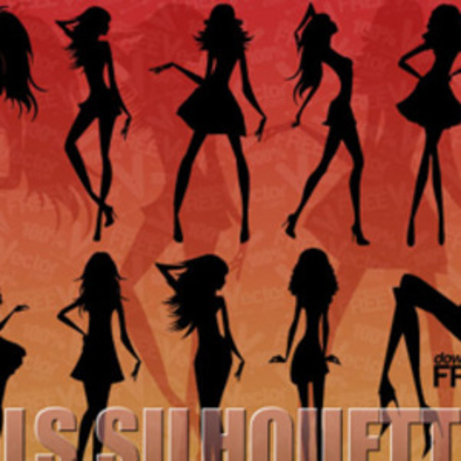 Silhouette Of Beautiful Girls