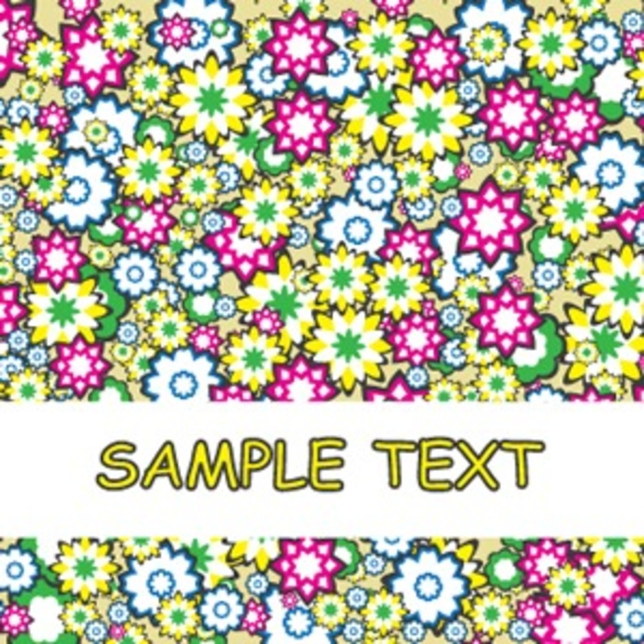 Abstract Cartoonized Flowers Background Card Design