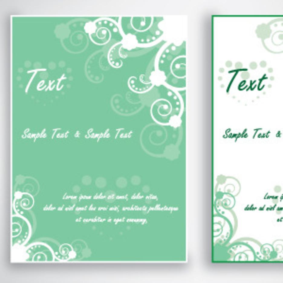Green Card Design With Swirls