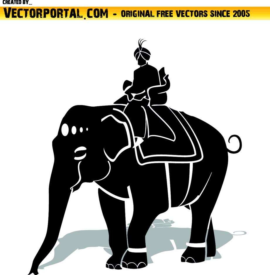 Maharaja Riding An Elephant Vector