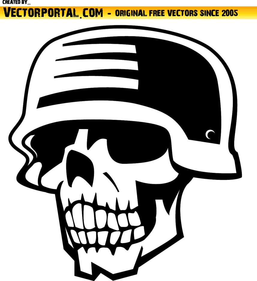 Skull And WW II Helmet Vector