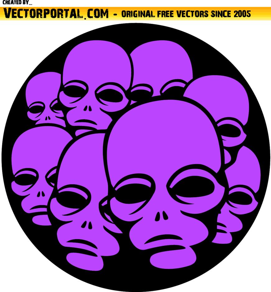Pink Alien Faces Vector