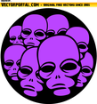 Pink Alien Faces Vector