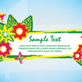 Green Brush Banner Flowers Design